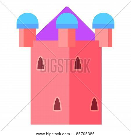 Fairy pink tower icon. Cartoon illustration of fairy pink tower vector icon for web