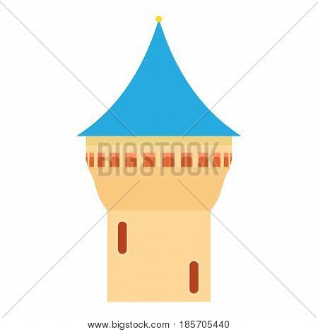 Castle tower with blue pointed dome icon. Cartoon illustration of castle tower with pointed dome vector icon for web