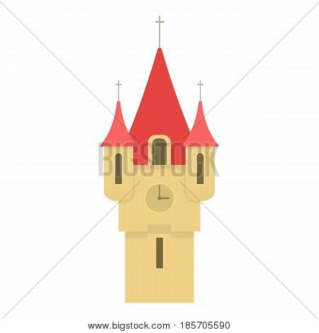 Castle tower with red pointed domes icon. Cartoon illustration of castle tower with red pointed domes vector icon for web