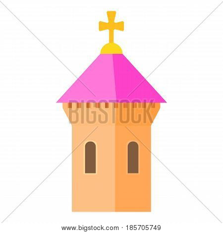 Pink dome of church icon. Cartoon illustration of pink dome of church vector icon for web