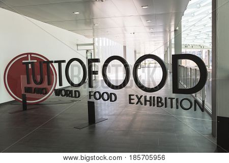 Sign At Tuttofood 2017 In Milan, Italy