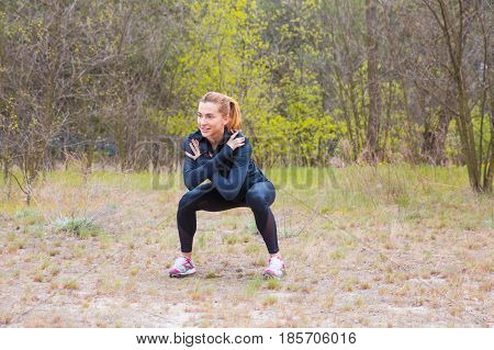 Readhead Sports girl is engaged in fitness in the park