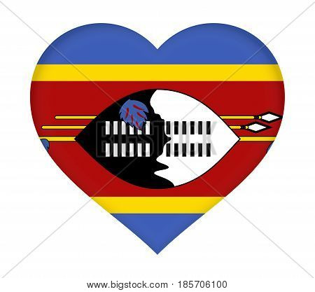 Flag Of  Swaziland Heart