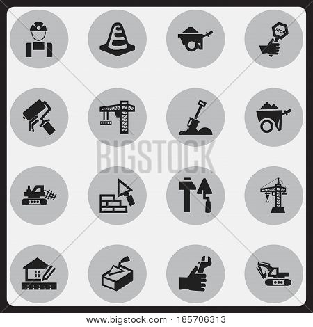 Set Of 16 Editable Building Icons. Includes Symbols Such As Oar , Facing, Hands. Can Be Used For Web, Mobile, UI And Infographic Design.
