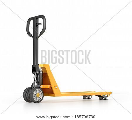 Hand pallet truck. Manual forklift. 3d illustration
