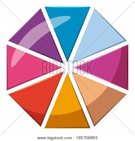 Colorful circle chart divided into eight parts icon. Cartoon illustration of colorful circle divided into eight parts vector icon for web