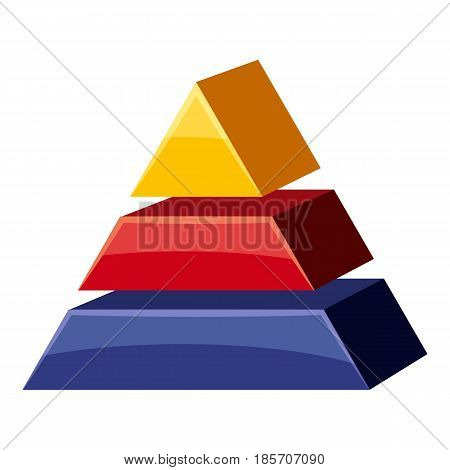 Colorful triangle divided icon. Cartoon illustration of colorful triangle divided vector icon for web