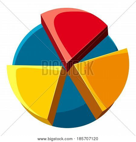 Colorful pie chart icon. Cartoon illustration of colorful pie chart vector icon for web