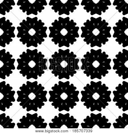 Vector seamless pattern. Simple monochrome floral texture. Geometric grid, square symmetric illustration. Black flat flowers on white backdrop. Design element for tileable print, textile, embossing