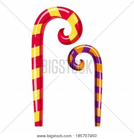 Striped candy canes icon. Cartoon illustration of striped candy canes vector icon for web