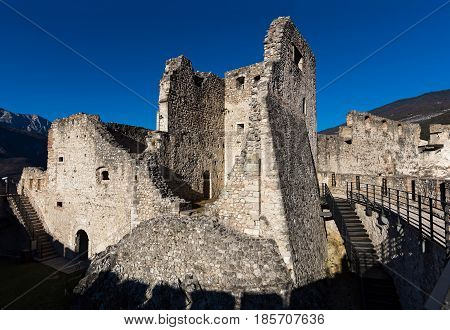 View of Beseno castle in Trentino, Italy