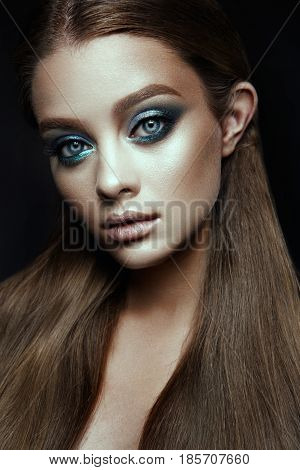 Fashion model Woman with fantasy make up. Long blowing brown hair. Fantasy Girl. Mermaid.