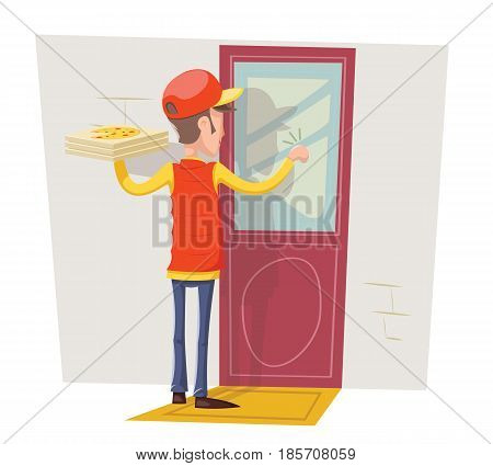 Pizza Box Delivery Boy Man Concept Knocking at Customer Door Wall Background Cartoon Retro Design Vector Illustration