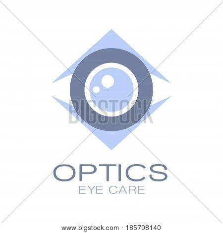 Optics logo symbol, oculist sign. Vector Illustration for optics clinic, company, ophthalmology cabinet