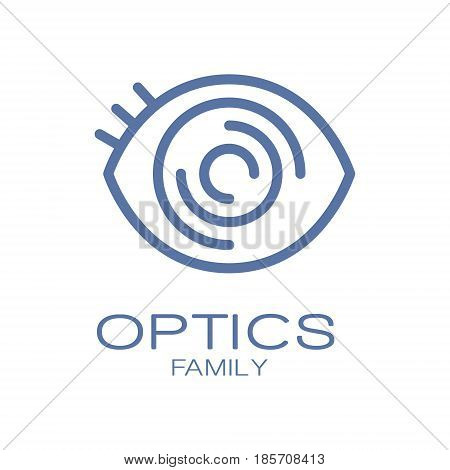 Optics family logo symbol. Hand drawn illustration for optics clinic, company, ophthalmology cabinet