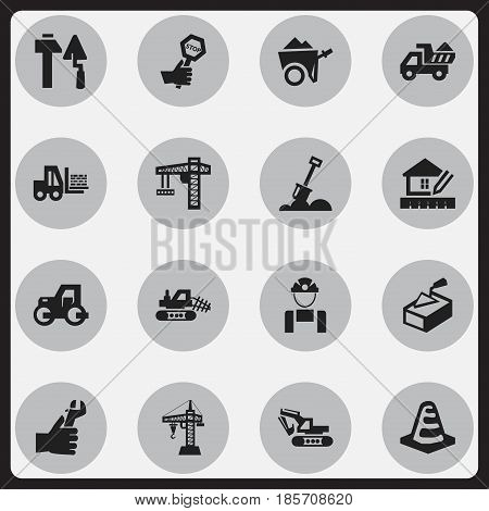 Set Of 16 Editable Construction Icons. Includes Symbols Such As Oar , Hands , Excavation Machine. Can Be Used For Web, Mobile, UI And Infographic Design.