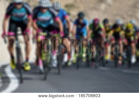 Cycling competition,blur image of asphalt road and bike
