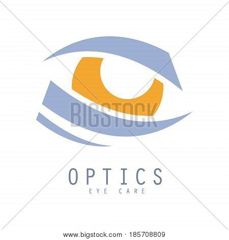 Optics eye care logo. Hand drawn illustration for optics clinic, company, ophthalmology cabinet