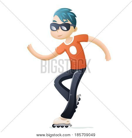 Roller Skate Cartoon Hipster Geek Healthy Lifestyle Character Icon Design Isolated Vector Illustration