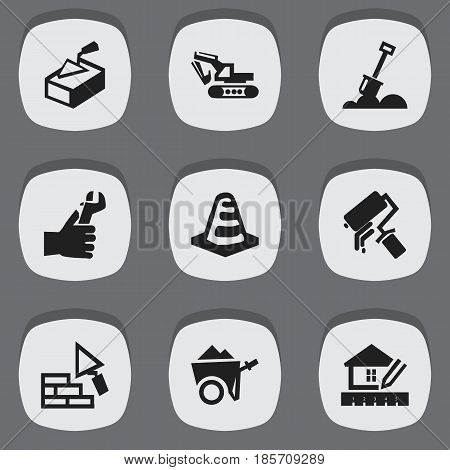 Set Of 9 Editable Construction Icons. Includes Symbols Such As Notice Object , Facing, Handcart. Can Be Used For Web, Mobile, UI And Infographic Design.