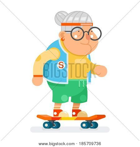 Sports Healthy Granny Active Lifestyle Age Skating Lady Old Character Cartoon Flat Design Vector illustration