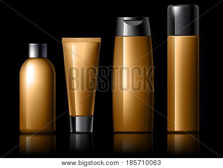 Cosmetic package collection for cream, soups, foams, shampoo on a black background. vector illustration.