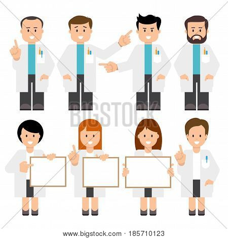 Doctors, scientists. Vector illustration of a people in a white coats. Flat style