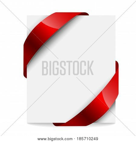 Label, price tag with a red ribbon on white background. Vector illustration.