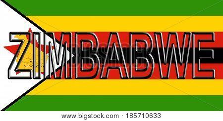 Flag Of Zimbabwe Word.
