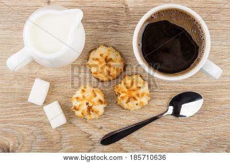 Cup Of Coffee, Coconut Cookies, Lumpy Sugar, Jug Of Milk