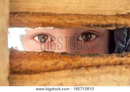 Children's eyes spy in the big slot