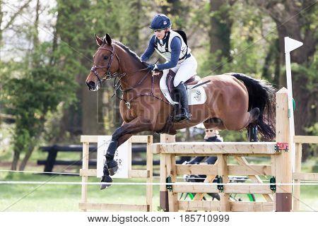 BURNHAM MARKET NORFOLK/ENGLAND - APRIL 15th 2017: Burnham Market International Horse Trials 2017 Holly Woodhead cross country event