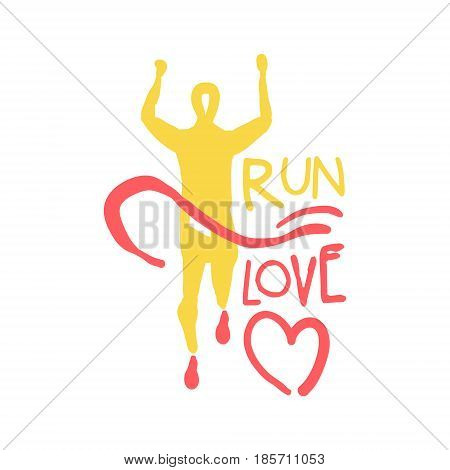 Run love logo symbol. Colorful hand drawn illustration for sport poster, emblem, sign of the race supporters, fan clubs