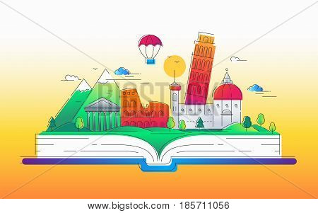 Enjoy Italy - modern vector line travel illustration. Discover Rome. Have a trip, enjoy your vacation. Be on a journey. Landmarks on a book - tower of pisa, coliseum, temple, cathedral, mountain