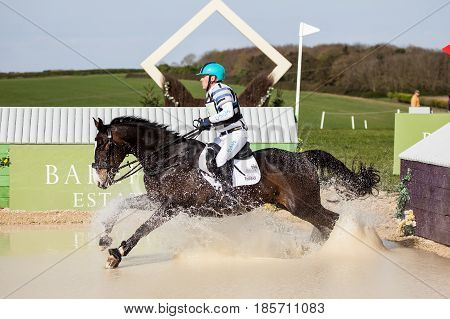BURNHAM MARKET NORFOLK/ENGLAND - APRIL 15th 2017: Burnham Market International Horse Trials 2017 Andrew Hoy cross country event