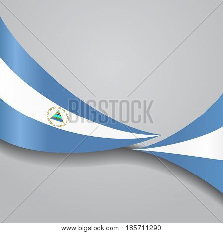 Nicaraguan flag wavy abstract background. Vector illustration.