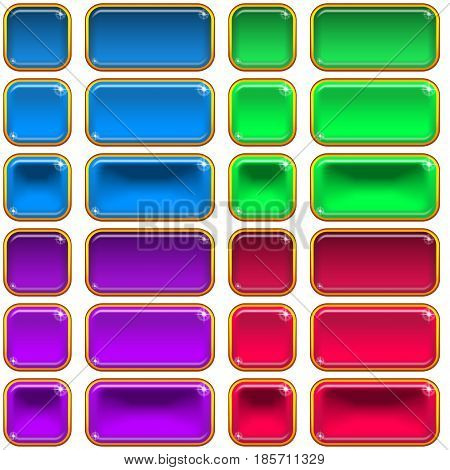 Set of Glass Buttons, Square and Rectangle, in Various States, Normal, Illuminated, Clicked. Computer Icons Elements for Web Design, Isolated on White. Eps10, Contains Transparencies. Vector