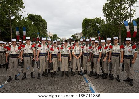 Paris, France - July 14, 2012. Soldiers from the French Foreign Legion poses before the march in the annual military parade in honor of the Bastille Day in Paris.