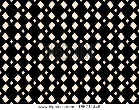 Vector monochrome mesh texture, geometric seamless pattern in black & white colors. Illustration with simple geometrical shapes, staggered rhombuses. Stylish minimalist repeat design for prints, decor