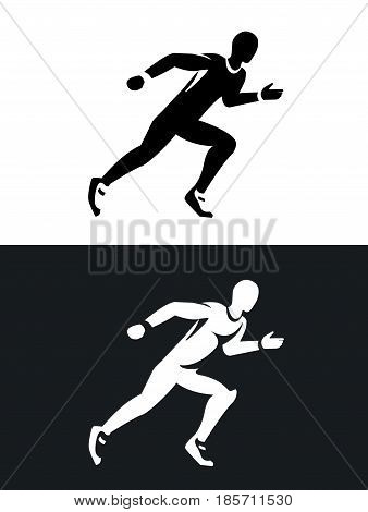 muscular sprinter runner set. Black and white silhouette. Flat design