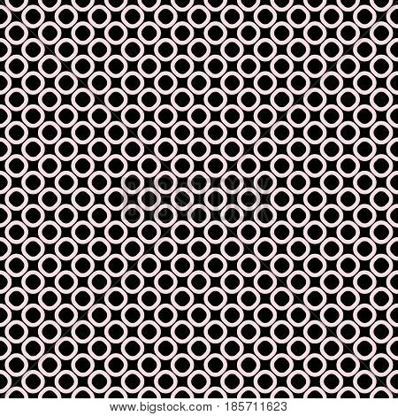 Vector seamless pattern, black & white geometric background, small staggered rings & circles. Simple shapes, dark abstract monochrome texture, repeat tiles. Design for prints, furniture, digital, web