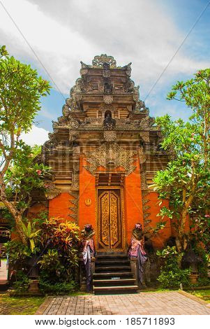 Balinese Door Facade Of Temple. Ubud. Bali.