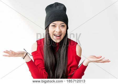 Portrait Of Happy Attractive Asian Woman With Shrug Gesture
