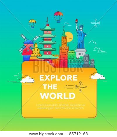Explore the world - Illustration of vector flat design postcard with famous world landmarks in a folder
