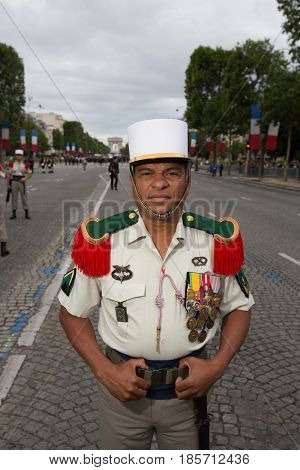 Paris, France - July 14, 2012. Soldier from the French Foreign Legion poses before the march in the annual military parade in honor of the Bastille Day in Paris.