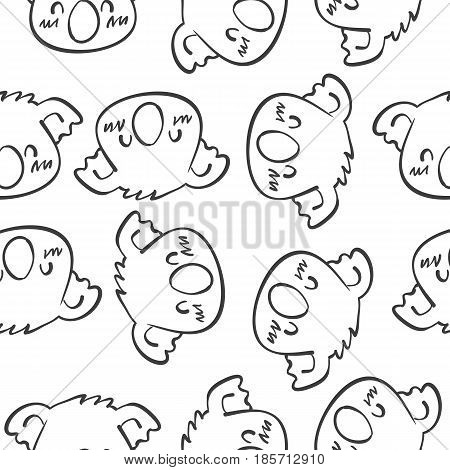 Animal head vector art of doodles collection stock