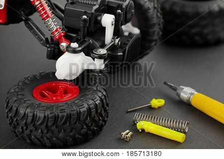 Various parts for radio-controlled models repair of a toy car