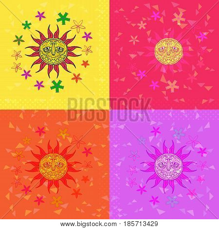 Pop art. Sunshine and flowers. Vintage illustration vector. Sunny weather
