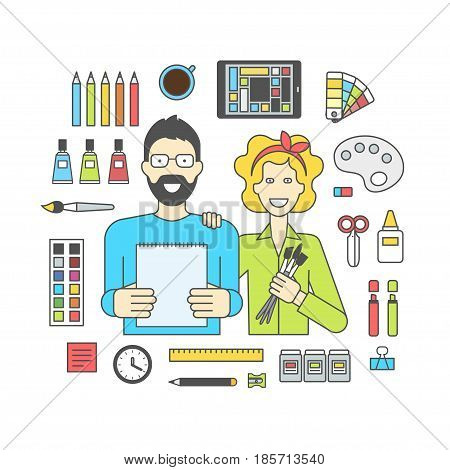 Flat design vector illustration of lineart, designer workplace. Designers man and woman with accessories on a white background, team work. Minimalist style and color for Web and Mobile App