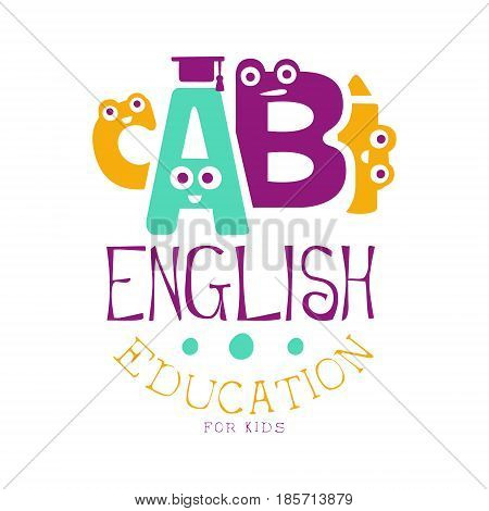 English education for kids logo symbol. Colorful hand drawn label for child development center, educational club, kids channel